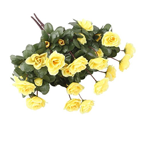 ELECTROPRIMEÃ?â??® 2 Bunches Small Azalea Artificial Fake Flower Bouquet Wedding Decor Yellow
