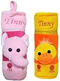 #3: ESELPRO BABY SOFT PINK YELLOW VELVET FEEDING BOTTLE COVER (15 CM)