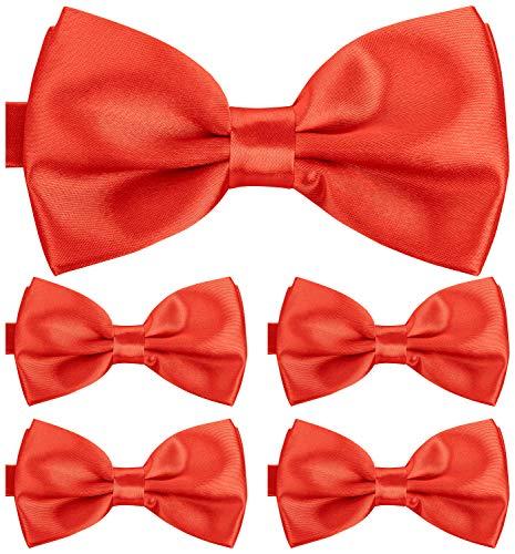 BomGuard Fliege für Herren rot I Männer Fliege für Hochzeit, Party oder edele Anlässe I Trendy Bow Tie I 5er Set Schleifen Black Tie Bow Tie