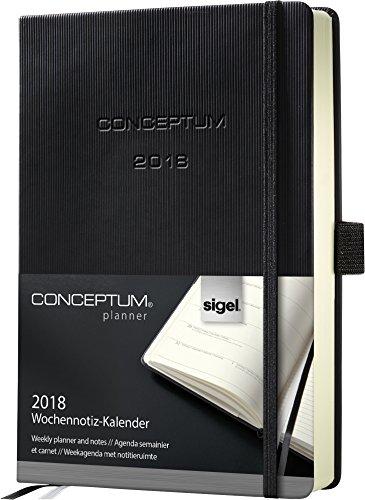Sigel C1814 Agenda Semainier et carnet 2018 CONCEPTUM, couverture rigide, 14,8 x 21,3 cm, noir