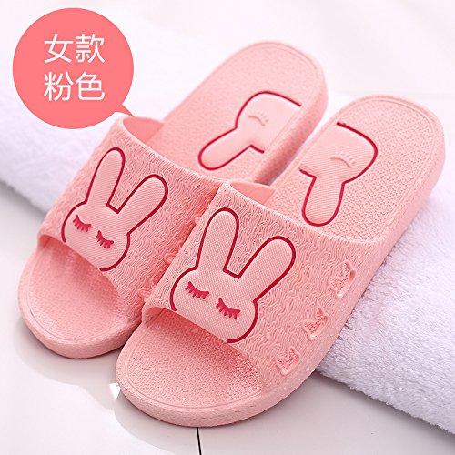 DogHaccd pantofole,Il bagno pantofole donne indoor estate home soggiorno con una morbida antiscivolo bagno in plastica coppie maschio cartoon cool pantofole Rosa4
