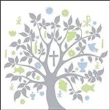 40x Ambiente Servietten Symbol Baum Blau Silber Kommunion Konfirmation Taufe Tischdeko 20 Stück 33x33cm