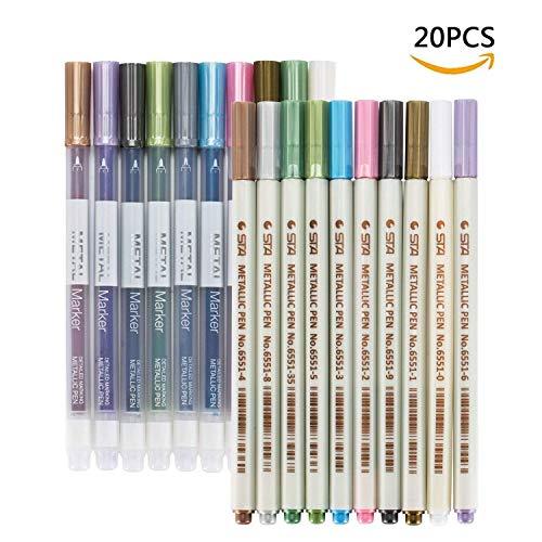 Marker Stifte,Wasserfeste Stifte Set in 20 Stücke Buntstift Metallic Art Stiften