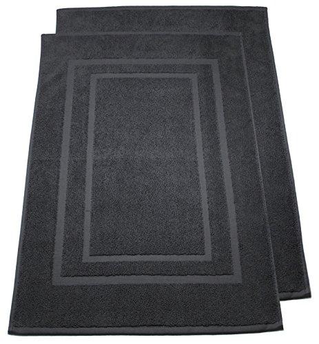 2er Pack Frottier Badevorleger Badematte Duschvorleger Set 50x80cm - Qualität 800 g/m² - 100% Baumwolle in 19 modernen Farben (Anthrazit / Grau)