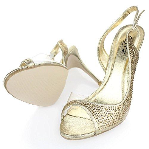 Aarz Femmes Ladies Wedding Party Soirée Talon Haut Bout Ouvert Diamante Sandales de Mariée Chaussures Taille (Or, Argent, Champagne, Rouge, Noir) Or