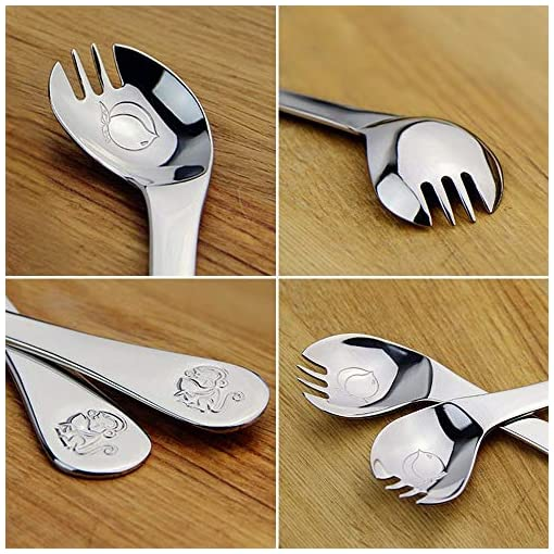 Baby Spoon Toddler Cutlery Curved Training Self feeding Stainless Steel Learning Metal Led Weaning First Eating Month Travel BPA Free Utensils Silverware Curve for Right Handed Boy or Girl Kid Child