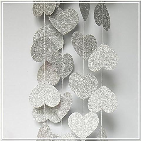 T-Mida Home,Glitter argento a forma di cuore fiore decorazioni in carta (4m) fatto a mano, (Fatto A Mano Fiore Di Carta Semi)