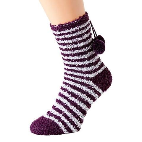 Chaussettes de nuit rayées - femme - violet O/S