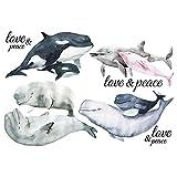 Color Bügeltransfer, DIN A4, Wale & Delfine | Textilien wie T-Shirts & Taschen mit Bügelmotiven verzieren | Bilder schnell & einfach aufbügeln | DIY Textildesign