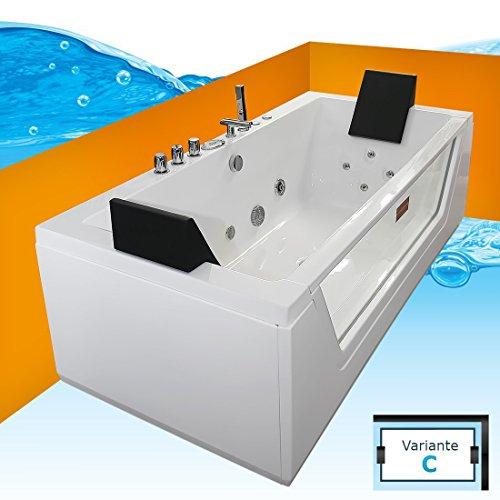 AcquaVapore Whirlpool Pool Badewanne Wanne A1813NC mit Reinigungsfunktion 185x90, Selfclean:ohne +0.-EUR (Whirlpool Wanne Jacuzzi Badewanne)