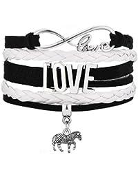 Legemeton Infinity Love Multilayer Braided Pink Or Black Bracelet with Zebra Charm