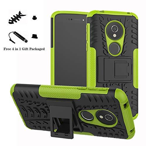LiuShan Moto E5 / G6 Play Hülle, Dual Layer Hybrid Handyhülle Drop Resistance Handys Schutz Hülle mit Ständer für Motorola Moto E5 / G6 Play Smartphone (mit 4in1 Geschenk Verpackt),Grüne