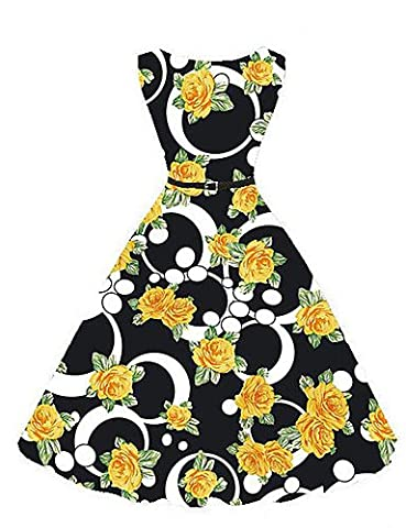XWX Damen Swing Kleid-Lässig/Alltäglich Urlaub Übergröße Retro Street Schick Stickerei Rundhalsausschnitt Knielang Ärmellos Polyester Sommer , black ,