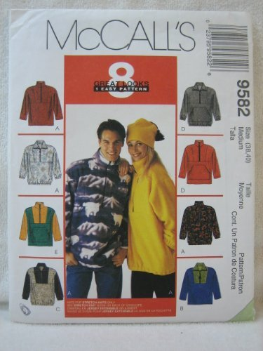 Price comparison product image McCall's Pattern 9582 Misses' and Men's Unisex Pullover Top and Knit Hat, Size Medium (Chest 38-40) by McCall's