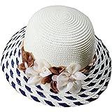 HAT SHOP Women's Ridge Wide Floppy Striped Brim Summer Beach Sun Hat Straw Cap Party Garden Travel
