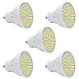 5er Pack 3W GU10 LED Leuchtmittel Lampe mit 60 SMD 2835, vgl.25W Halogen,240 Lumen,AC220V,Warmweiß,120°Abstrahlwinkel