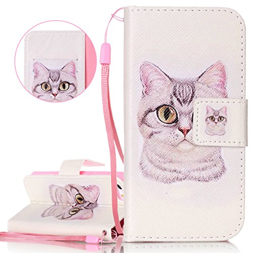 Custodia iPhone SE, Cover iPhone 5/5S, ISAKEN Flip Cover per Apple iPhone 5 5S SE, Elegante borsa Bookstyle Design Flip Caso in Sintetica Ecopelle PU Pelle Protettiva Portafoglio Wallet Case Cover con Gatto
