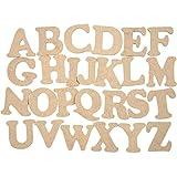 Lettres en bois - Assortiment, h: 4 cm, épaisseur 2,5 mm, MDF, 78pièces