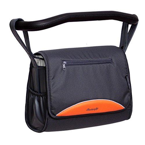 Zekiwa komfortable Wickeltasche mit vielen Innenfächern und mit Wickelauflage (Butterfly Grau/Orange)
