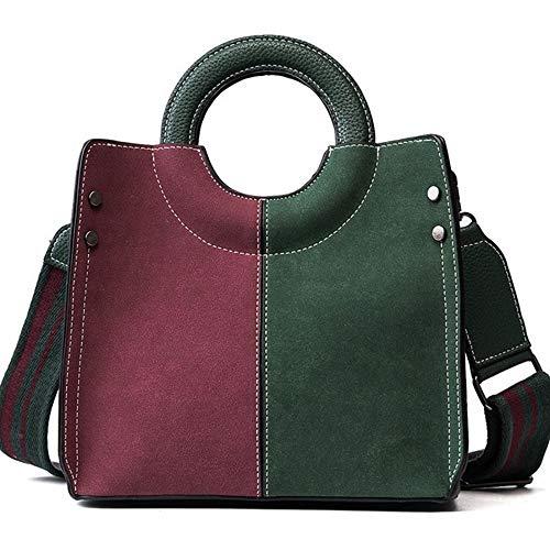 KAIDILA Handtaschen für Frauen PU Leder Damen Nähte Schultertasche Tasche Casual Mode & Arbeit, grün-Schwarz und Braun
