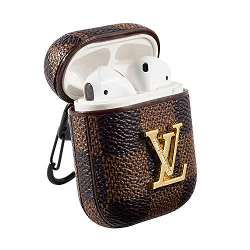 Housse en Cuir de à la Mode, Protection complète Antichoc avec Mousqueton, Convient pour Les écouteurs sans Fil Apple AirPods (Bronze)