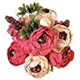 Houda Vintage Artificial Peony Silk Flowers Bouquets Home Wedding Decoration (Dark pink)