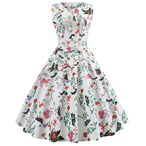 chenpaif Womens 1950er Jahre Vintage Boatneck ärmellose Midi Lange Schaukel Tee Kleid Kirsche Floral Bedruckte Empire Taille zurück Gürtel Party Sommerkleid 85# S - Ladies Boatneck