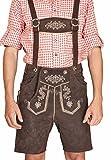 Trachten Herren Lederhose Kurz Braun leather trousers Smartphone Tasche KMC2 (54)