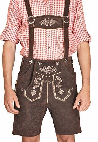Trachten Herren Lederhose Kurz Braun leather trousers Smartphone Tasche KMC2 (50)