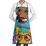 Voxpkrs Dog with Glasses Headset Bib Chef Apron with Pockets and Extra Long Ties Perfect for Cooking Guide