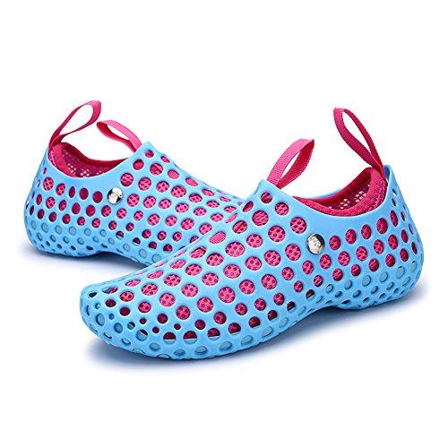 JEDVOO Scarpe da scoglio per Uomo e Donna Unisex Scarpe Acqua Surf Yoga sport acquatico traspirante Antiscivolo blue/rosa