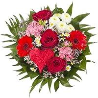 """Dominik Blumen und Pflanzen, Blumenstrauß """"Alles Liebe"""" aus Rosen, Gerbera und Johanniskraut"""