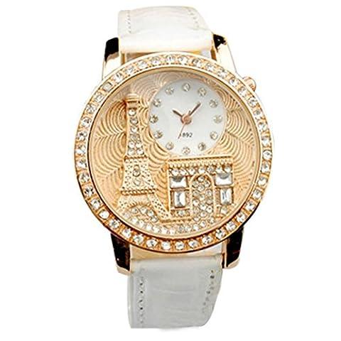 Femme, montres Bracelet Ihee Porter très confortable Femme Strass montres de luxe Design rétro Cristal de luxe la Tour Eiffel montre à quartz Montre-bracelet nouveaux Mode M blanc