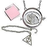 Wizardy Schmuck Double Pack Silber Sanduhr Und trinagle Halskette mit Spinning Center Symbol - Verpackt in einer schönen in Samtbeutel + Freies Geschenk , silberne Ohrringe