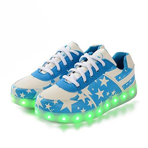 DoGeek LED Schuhe Kinder Damen 7 Farbe USB Aufladen Leuchtend Sportschuhe Led Kinder Farbwechsel Sneaker Turnschuhe für Herren Damen Blue