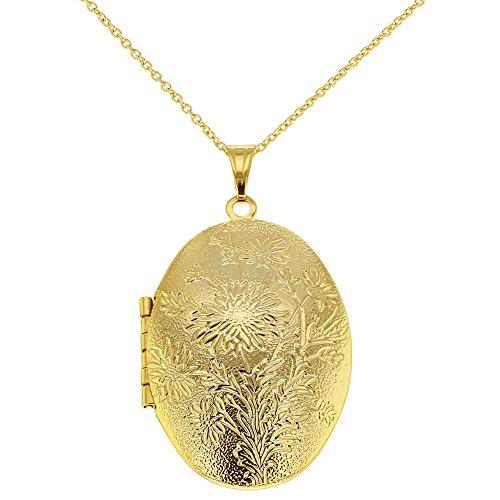 Halskette Foto Medaillon Blumenstrauß Oval Texturiert Herzform 48cm (Gold Medaillon Halskette)