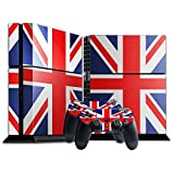 Stillshine Vinyl Decal Full Body Skin Sticker For Sony Playstation 4 PS4 console x 1 and controllers x 2 (Flags UK Bright)