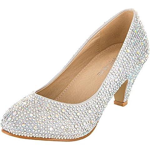 VELCANS Zapatos de Se_oras Diamantes de Imitación y Medio Tacón de Vestidos pare Boda, Novia, Graduación y Fiesta para