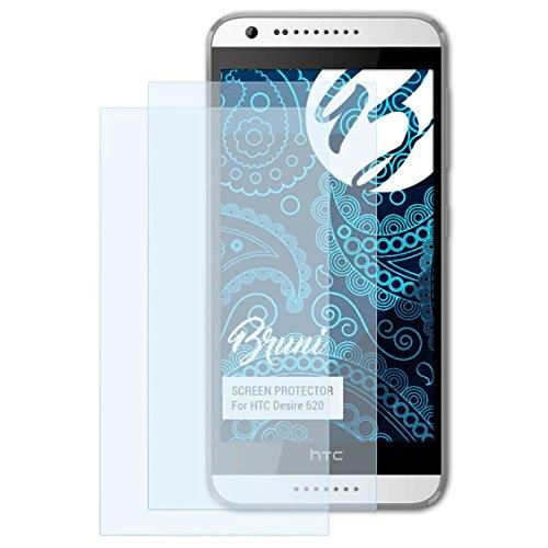 Bruni Schutzfolie für HTC Desire 620 Folie, glasklare Bildschirmschutzfolie (2X)