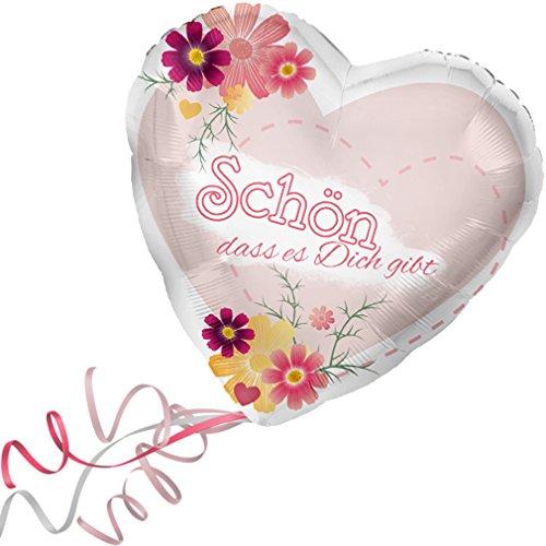 > > > Fertig Heliumbefüllt < < < Folienballon großes Herz rosa-rot mit Blumen-Motiv > Schön das es Dich gibt < Ballon mit Helium/Ballongas gefüllt Liebe Heiratsantrag Valentinstag von Haus der Herzen® (Ballons Gefüllte Helium)