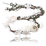 AWAYTR Boho Braut Blume Girlande Stirnband - Frauen Mädchen Einstellbare Baum Rattan Blatt Floral Haar Kranz Hochzeit Fotografie Dekoration, Beige-2, Einheitsgröße