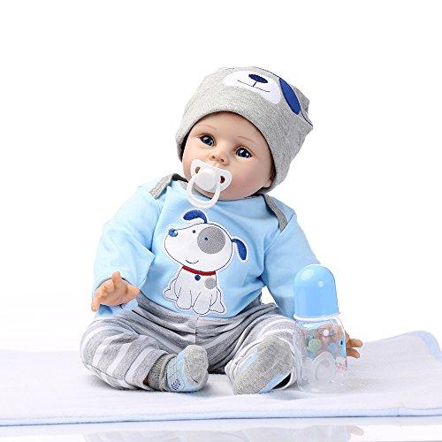 Decdeal - Reborn Muñeco Bebé Niño de Silicona con Ropa, Ojos Azules, 22 Pulgadas 55cm