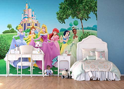 AG Design FTDXXL 0249  Disney Pincess Prinzessinen, Papier Fototapete Kinderzimmer- 360x255 cm - 4 teile, Papier, multicolor, 0,1 x 360 x 255 ()
