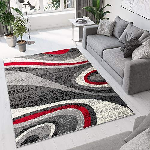 Tapiso dream tappeto camera soggiorno salotto moderno crema grigio rosso astratto a pelo corto 140 x 200 cm