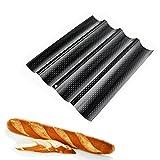 Ainstsk Baguette teglia da Forno, Antiaderente Perforato Francese Stick Micro Perforati Stampo Pane Holder, Nero, Taglia Libera