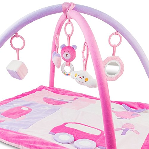Manta de Actividades de Juegos Infantil Rosa. Alfombra Actividades para Bebés. Manta Convertible en Gimnasio. Manta de Arrastre para Niños. Convertible Estera de Juegos. 110% Garantía de Reembolso