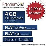 PremiumSIM LTE M Allnet Flat - monatlich kündbar (FLAT Internet 4 GB LTE mit max. 50 MBit/s mit deaktiverbarer Datenautomatik, FLAT Telefonie, FLAT SMS und EU-Ausland, 12,99 Euro/Monat)