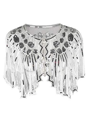 Cape Kleid Kostüm - Grouptap 1920er Jahre Gatsby Schal Bolero Pailletten Cape Achselzucken Wrap für weiße Frauen Damen Flapper Art Deco Vintage Kleid Kostüm (Weiß, Einheitsgröße)