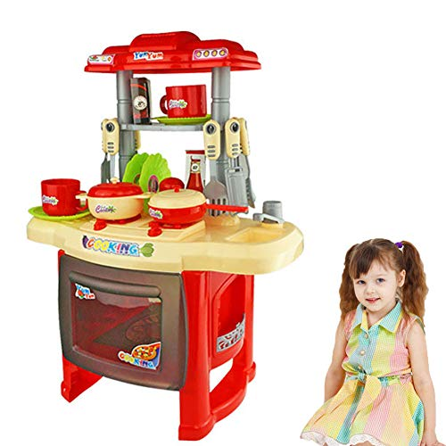 WDXIN Maison de poupée Puzzle Meuble Combinaison de Table à Manger Ceinture Lumière Cuisson Jouet de Maison Vaisselle de Cuisine,Red