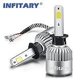 Infitary H4/H7 LED Headlight de phare Hi / Lo faisceau Auto phare, double faisceau de lumière, 72W 6500K 8000LM Extrêmement Super brillant COB Kit de conversion de copeaux pour voiture- 1 pai (H1S)